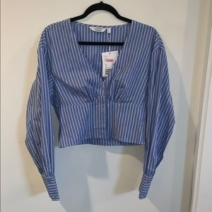 & other stories blue pinstripe top